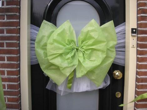 Deurstrik in groen/wit