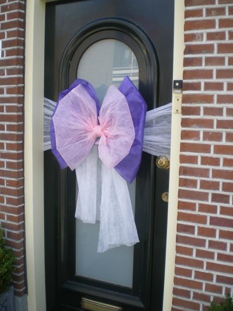 Deurstrik in paars en roze