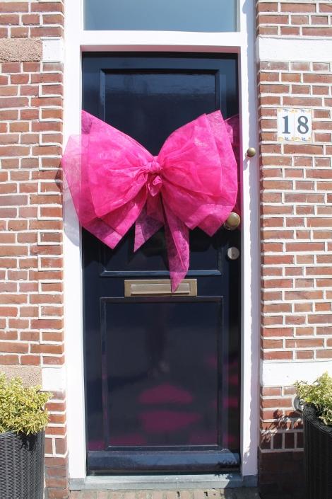 Roze deurstrik : leuk voor geboorte maar ook voor je bruiloft