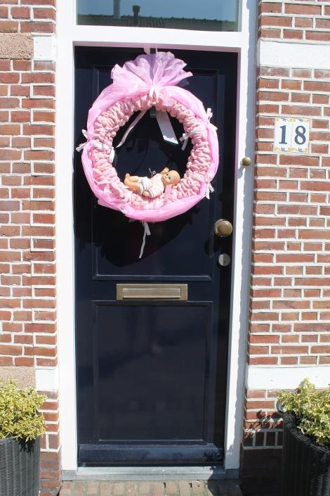Roze deurkrans